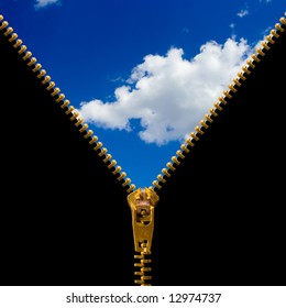Zipper and cloudy sky, abstract nature background