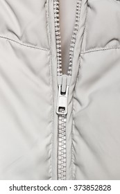 Zipper on coat closeup