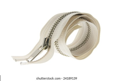 Zipper on Isolated White Background