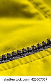 Zipper on the jacket, close up