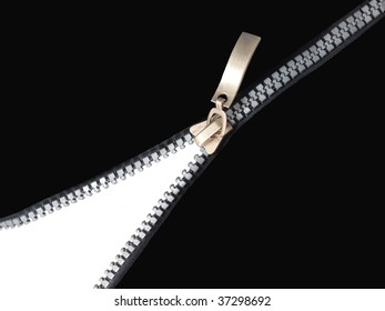 Zipper on white and black background