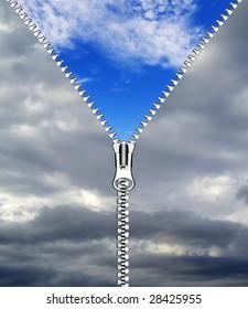 zipper opening blue sky