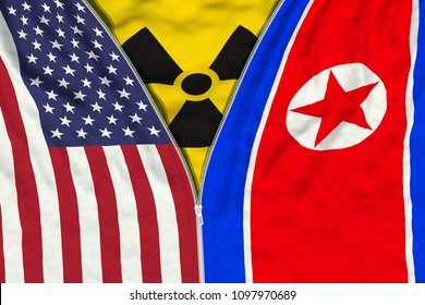 Zipper separates or connects US and North Korean flags with radiation symbol, relations, sanctions and denuclearization concept, 3d render