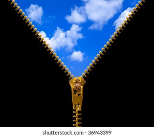 Zipper and sky isolated on black background