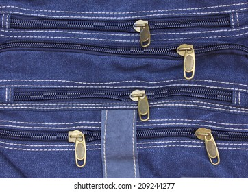 zippers of blue jean Stock Photo