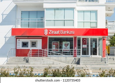 At Ziraat Bank in Marmaris, Turkey - June 24, 2018 : Ziraat bank in Engin boulevard in Marmaris, Mugla, Turkey
