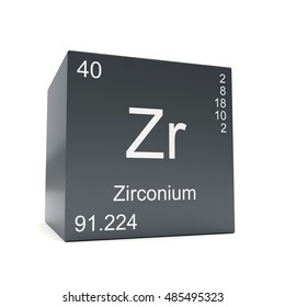 zirconium chemical element symbol from the periodic table displayed on black cube 3d render - Periodic Table Zr