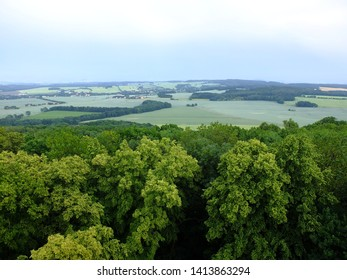 Zittau Hills, Lusatia, Germany, view from King Frederick Augustus Tower, Lobau, Saxony, Germany