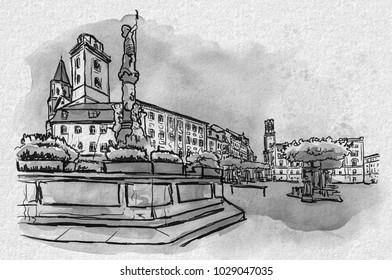 Zittau with townhall