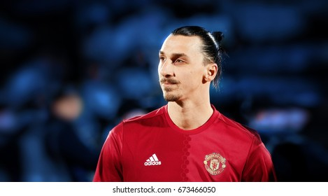 """Zlatan Ibrahimovic (Feyenoord) in match 1/8 finals of the Europa League between FC """"Rostov"""" and """"Manchester United"""", 09 March 2017 in Rostov-on-Don, Russia."""