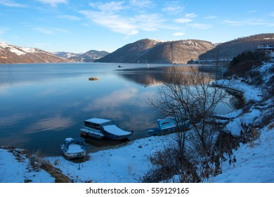 Zlatar lake is an artificial lake located among the mountains of Zlatibor, Southwest Serbia, winter