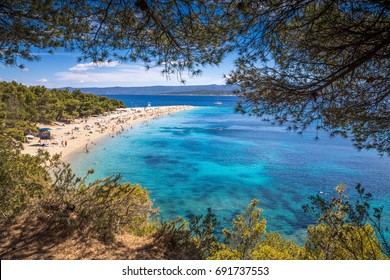 Zlatni Rat beach on Brac Island in Croatia.