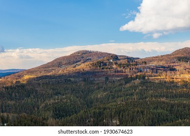Zlaty vrch with Studenec hill in Lusatian mountains, early spring 2021 in Czech Republic - Shutterstock ID 1930674623