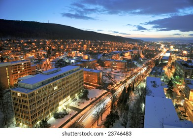Zlin city T.Bata street in the winter night