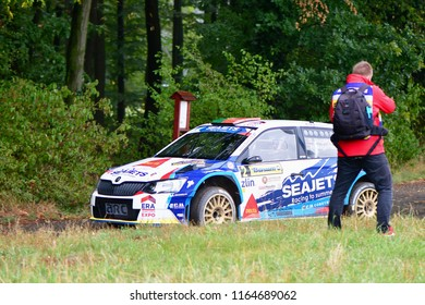 ZLIN, CZECH REP. - AUGUST 26 : Driver Magalhães Bruno and co driver Magalhães Hugo in Škoda Fabia R5 at speed stage no.10 during Barum Czech Rally August 26, 2018 in Zlin, Czech Republic.