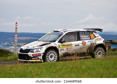 ZLIN, CZECH REP. - AUGUST 26 : Driver Mareš Filip and co driver Hloušek Jan in Škoda Fabia R5 at speed stage no.10 during Barum Czech Rally August 26, 2018 in Zlin, Czech Republic.