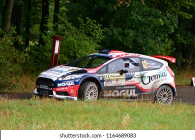 ZLIN, CZECH REP. - AUGUST 26 : Driver Černý Jan and co driver Černohorský Petr in Ford Fiesta R5 at speed stage no.10 during Barum Czech Rally August 26, 2018 in Zlin, Czech Republic.