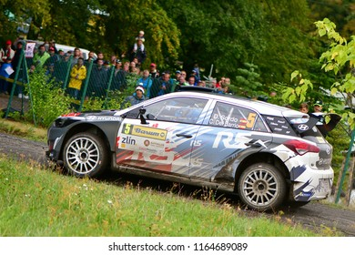 ZLIN, CZECH REP. - AUGUST 26 : Driver Sordo Daniel and co driver Del Barrio Carlos in Hyundai i20 R at speed stage no.10 during Barum Czech Rally August 26, 2018 in Zlin, Czech Republic.