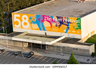 ZLIN, CZECH REPUBLIC - APRIL 29 2018: Zlin International Film Festival for children and youth poster on big cinema in front of Hotel Moskva on Namesti Prace on April 29, 2018 in Zlin, Czech Republic.