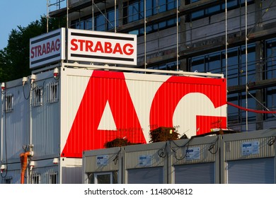 ZLIN, CZECH REPUBLIC - APRIL 29 2018: Strabag SE Austrian company logo on construction container on April 29, 2018 in Zlin, Czech Republic.