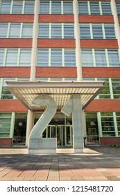 ZLIN, CZECH REPUBLIC - APRIL 29 2018: Bata skyscraper administrative bulding number 21 on April 29, 2018 in Zlin, Czech Republic.