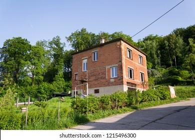 ZLIN, CZECH REPUBLIC - APRIL 29 2018: Typified red brick family Bata houses on April 29, 2018 in Zlin, Czech Republic.