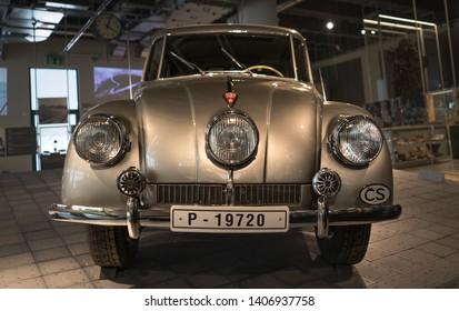 Zlin, Czech Republic - April 9 2019: The Tatra 87 (T87)  at the exposition in Zlin museum, Czech Republic, a car built by Czechoslovak manufacturer Tatra