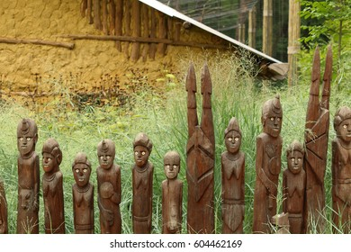 Zlin, Czech Republic - May 2016: WAKA statues in Africa section of ZOO Lesna, Zlin; statues of KENSO tribe (Ethiopia, Africa) made to honor death heroes of tribe