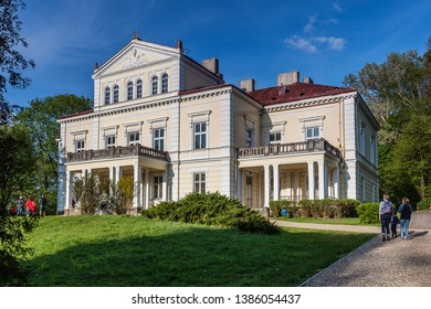 ZLOTY POTOK, POLAND - MAY 1, 2019: The Raczynski Palace and Park in Zloty Potok