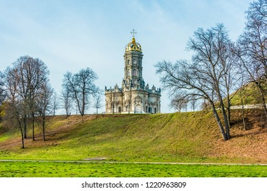Znamenskaya Church (Church of Our Lady of the Sign) on a hill in Dubrovitsy
