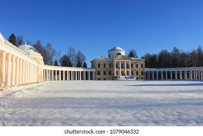 ZNAMENSKOE-RAYOK, TVER OBLAST / RUSSIA - NOVEMBER 30 2013. Znamenskoe-Rayok estate (second half of the XVIII century) it is great creation of architect Nikolay Lvov in Tver Oblast of Russia