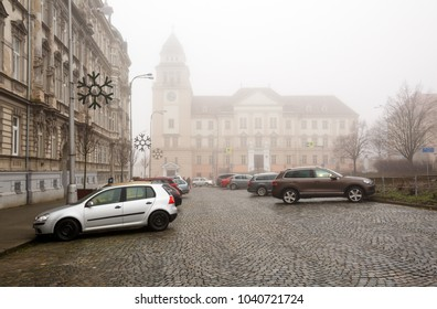 ZNOJMO/ CZECH REPUBLIC - DE?EMBER 28, 2017. View of the Znojmo District Court on a foggy winter day. Znojmo, Czech Republic, Europe.