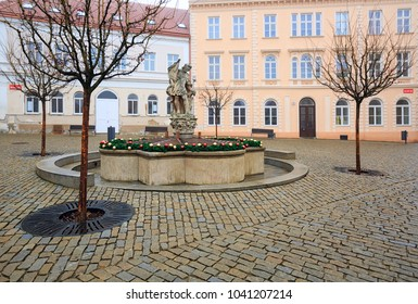 ZNOJMO/ CZECH REPUBLIC - DECEMBER 28, 2017. Wenceslas Square with the sculpture of Saint Wenceslaus in the old town of Znojmo in winter. Znojmo, Czech Republic, Europe.