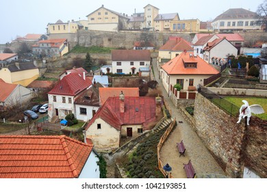 ZNOJMO/ CZECH REPUBLIC - DECEMBER 28, 2017. Historical centre of Znojmo on a cloudy winter day. View of the old brewery on a hill. Town of Znojmo, Czech Republic, Europe.