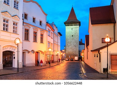 ZNOJMO, CZECH REPUBLIC - DECEMBER 28, 2017. Old downtown of Znojmo with the night illumintion on a winter evening. View of the Vlkova Tower - eng: Wolf Tower. Czech Republic, Europe.