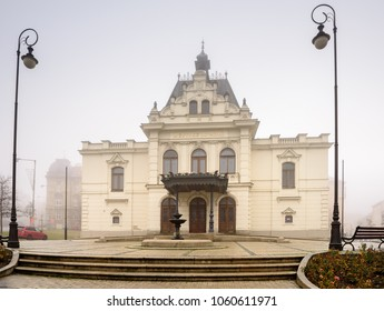 ZNOJMO, CZECH REPUBLIC - DECEMBER 28, 2017. City Theatre on a foggy winter day, opened in 1900 in the city of Znojmo, Czech Republic, South Moravia, Europe.