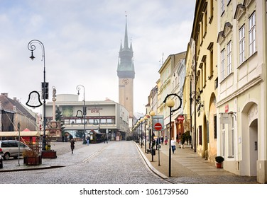 ZNOJMO, CZECH REPUBLIC - DECEMBER 28, 2017. View of the main square and Town Hall Tower in the historical centre during Christmas holiday. Znojmo, Czech Republic, Moravia, Europe.