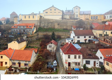 ZNOJMO, CZECH REPUBLIC - DEZEMBER 28, 2017. Historical centre of Znojmo on a cloudy winter day. View of the old brewery on a hill. Town of Znojmo, Czech Republic, Europe.