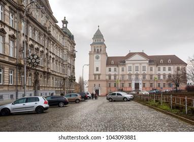 ZNOJMO, CZECH REPUBLIC - DEZEMBER 28, 2017. View of the Znojmo District Court on a winter day. Znojmo, Czech Republic, Europe.