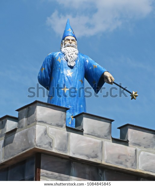 """Znojmo, Czechia - June 17th, 2014 -Excalibur City is a business and entertainment center near Znojmo near the Czech-Austrian border.There is  the """"Merlin Children's World"""" amusement park"""