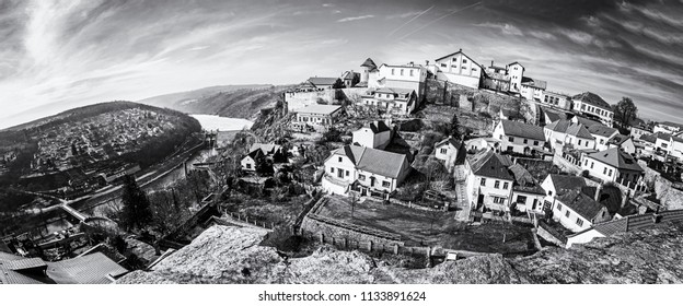 Znojmo with water reservoir from St. Nicholas' Deanery church, Czech republic. Travel destination. Panoramic photo. Black and white photo.