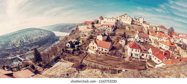Znojmo with water reservoir from St. Nicholas' Deanery church, Czech republic. Travel destination. Panoramic photo.