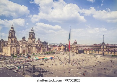 The zocalo in Mexico City DF, with the cathedral and giant flag in the centre