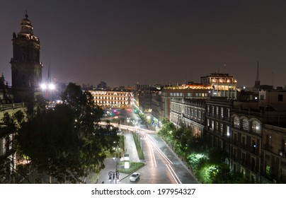 Zocalo in Mexico City D.F. at night with the main cathedral on the left