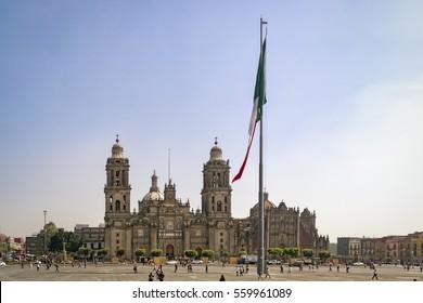 The Zocalo in Mexico City (Plaza de la Constitucion - Zocalo - la Catedral Metropolitana de la Ciudad de Mexico)