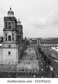 Zocalo square in Mexico City in black and white