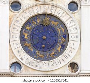 Zodiac clock in Venice, San Marco square, Italy