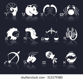 Zodiac constellation astrology signs decorative icons white set isolated  illustration