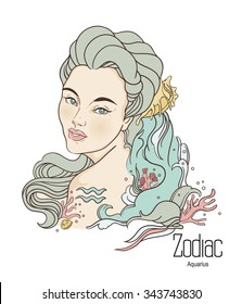 Zodiac. Hand drawn illustration of Aquarius as girl with flowers. Isolated on white background.