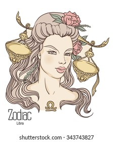Zodiac. Hand drawn illustration of Libra as girl with flowers. Isolated on white backround.